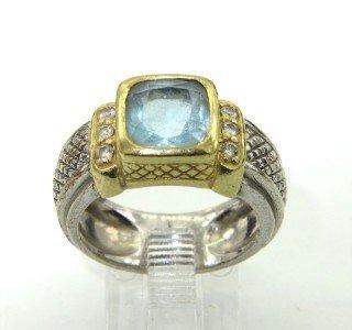 Judith Ripka Silver/18K Gold, Blue Topaz & Diamond Ring