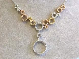18k Tri-color Diamond Necklace