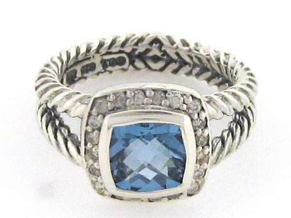David Yurman Silver Blue Topaz Diamond Ring
