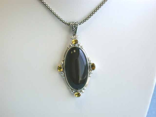 Silver Necklace with Onyx and Quartz