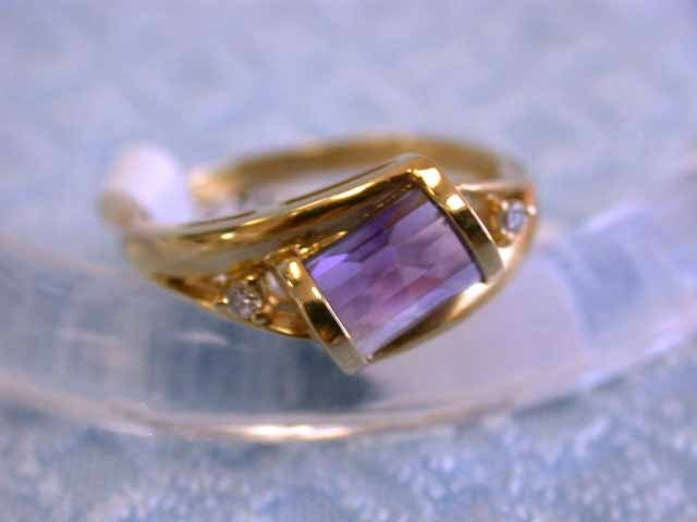 14k Yellow Gold Ring with Amethyst and Diamonds