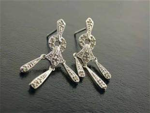 10k White Gold Earrings with Diamonds