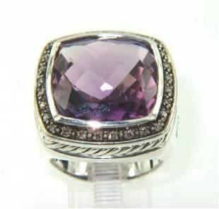 David Yurman Silver, Amethyst & Diamond Ring