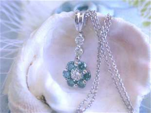 18k White Gold Necklace with Round and Blue Diamonds
