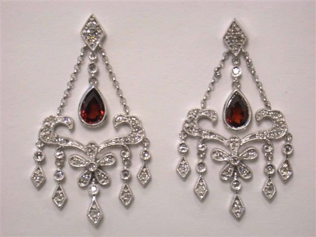 14k  White Gold Earrings with Diamonds and Garnet