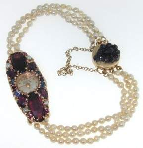 Antique 14K Gold Colored Stone, Pearl Watch From 1930.