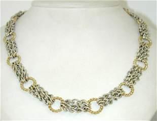 David Yurman Silver,18K Yellow Gold Necklace