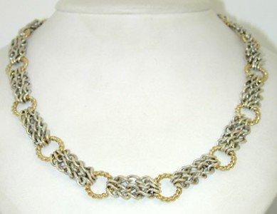 7A: David Yurman Silver,18K Yellow Gold Necklace