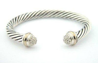 17A: David Yurman Silver / 18K Gold Diamond Bangle