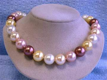 Colored Shell Pearl Necklace with Gold Clasp