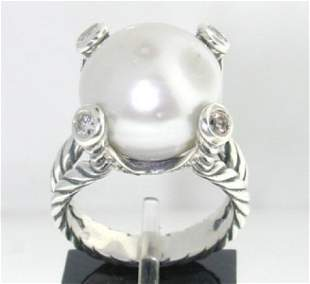 David Yurman Silver Pearl Diamond Ring.