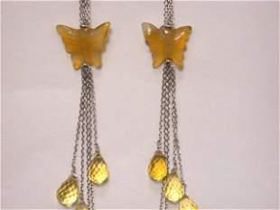 18k White Gold Earrings Citrine