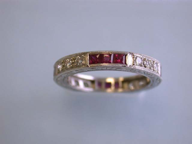 Eternity Ring with Diamonds and Ruby