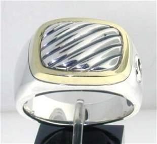 David Yurman Silver & 14K Yellow Gold Ring