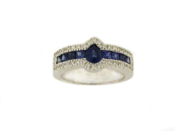 14k White Gold Ring with Diamonds and Sapphire