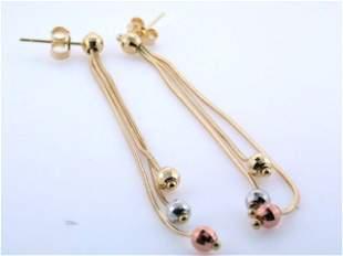 14k Tri-color Gold Dangling Earrings