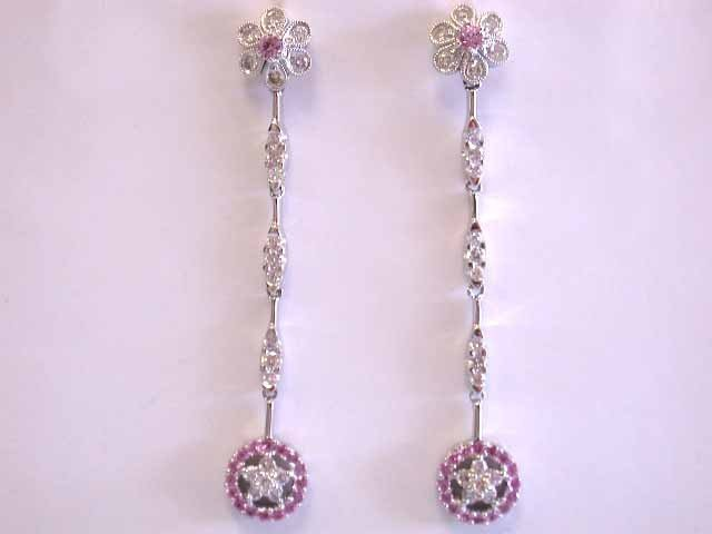 18k Gold Earrings with Diamonds and Pink Gemstone