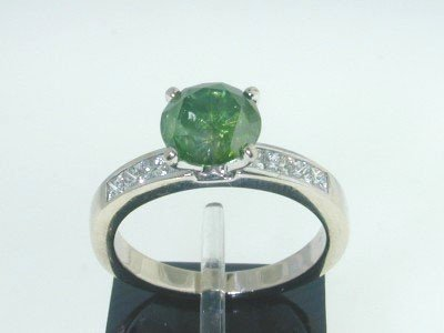 14Kt Lady's Round Fancy Green Diamond Engagement Ring.