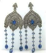 Victorian Silver On 14K Gold Sapphire Diamond Earrings