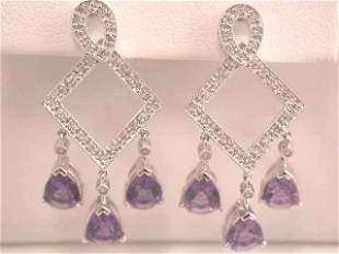 4k Gold Earrings with Diamonds and Amethyst