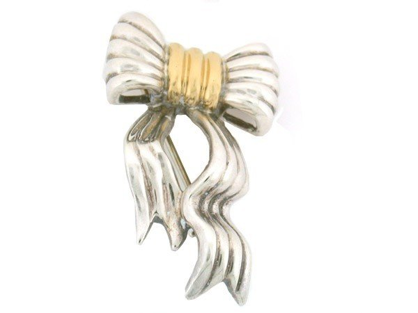 Silver and Gold Ribbon Pin