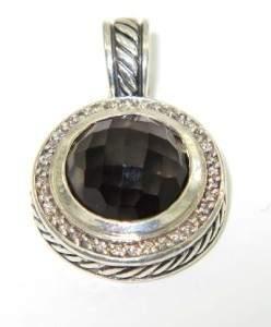 David Yurman Silver Smoky Topaz & Diamond Pendant