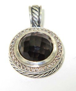 David Yurman Silver Smoky Topaz & Diamond Pendant