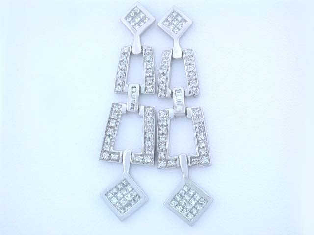 14k White Gold Dangling Earrings