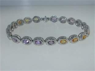 14K White Gold Lady's Diamond Multi-sapphire Bracelet