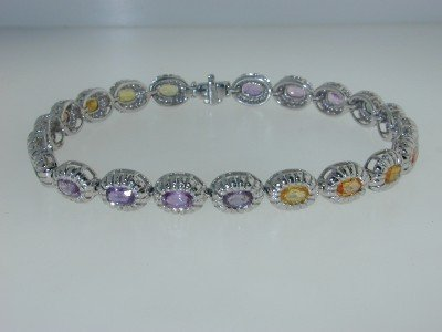14K White Gold Lady's Diamond Multi-sapphire Bracelet