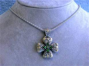 Silver & 18k Gold Necklace with Tsavorite