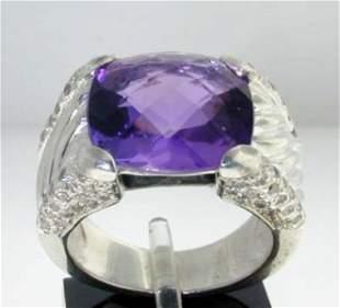 David Yurman Silver Amethyst & Diamond Ring