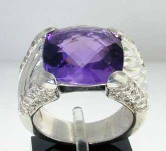 David Yurman Silver Amethyst & Diamond Ring