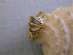 18k Yellow Gold Ring with Diamonds & Multi-colored Gems
