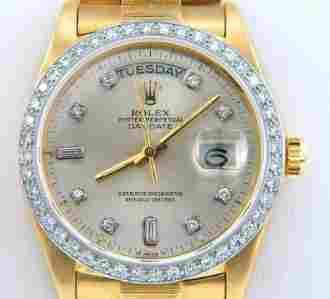 Rolex 18K Yellow Gold Diamond President Watch