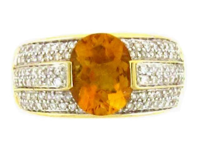 18k Yellow Gold Ring with Citrine and Diamonds