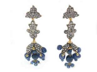 18k Gold and Silver Earrings with Diamonds and Sapphire