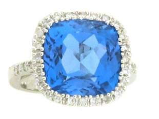 18k White Gold Ring with Topaz and Diamond
