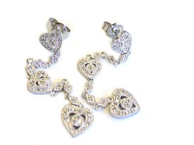 14k White Gold Earrings with Diamonds