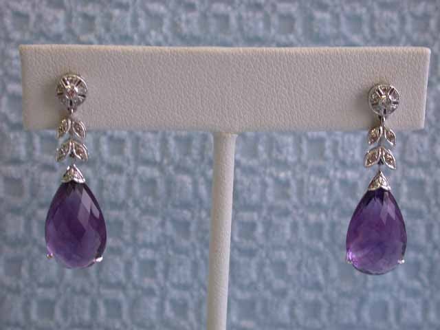 18k White Gold with Amethyst and Diamond Earrings