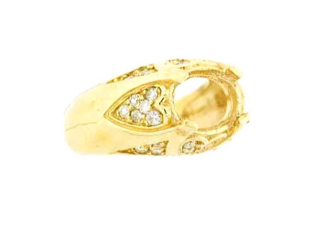 14k Yellow Gold Semi-mount Ring with Diamond accents