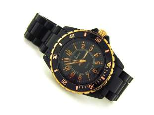 Peugeot Black Acrylic Bracelet Watch with Gold Accents