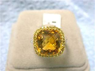 EFJ 14kw Gold Ring with Sapphire, Citrine & Diamonds