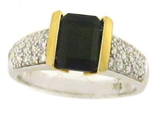 14k Gold Ring with Tourmaline and Diamonds