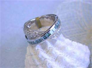 18k White Gold Ring with Round & Blue Diamonds