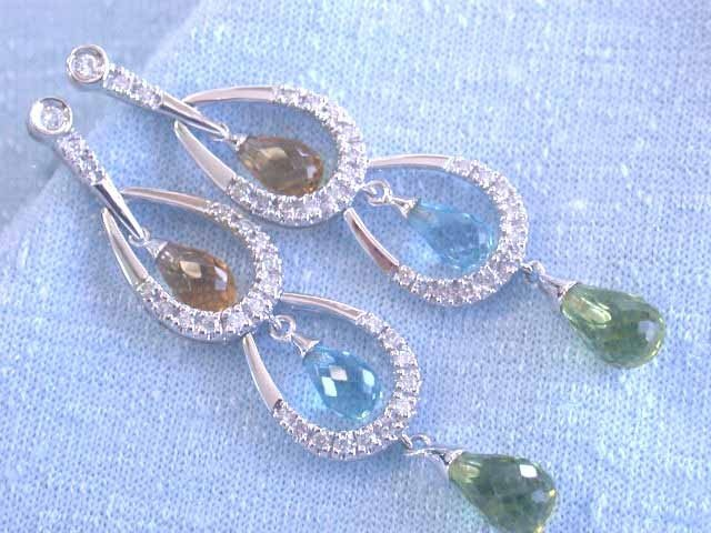 14k Gold Earrings with Diamonds and Gemstones