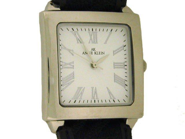 AK Anne Klein Women's 108433 Silver tone Black Leat