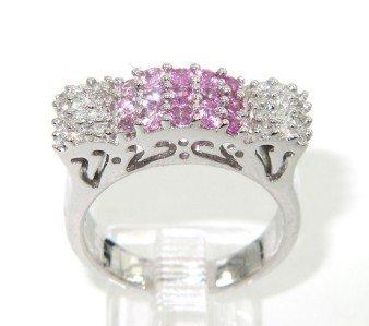 18K White Gold, Pink Sapphire & Diamond Ring