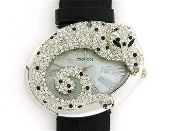CROTON LADIES WATCH CN207338 LEOPARD CRYSTAL MOP BL
