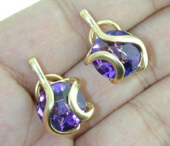 14K Yellow Gold  with Amethyst  Earrings